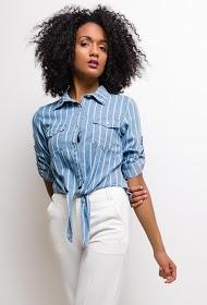 SOFTY gestreiftes hemd in jeans zum binden