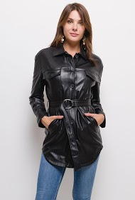 SOFTY buttoned imitation leather dress