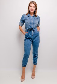 SOFTY zipped denim jumpsuit
