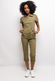 SOFTY short-sleeved front zip jumpsuit