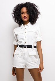 SOFTY cotton playsuit with belt