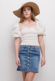 SOFTY denim button skirt
