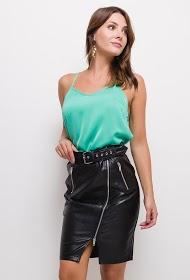 SOFTY zip imitation leather skirt
