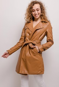 SOFTY faux leather trench