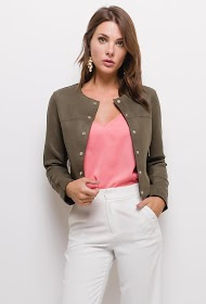SOFTY suedine short jacket with buttons