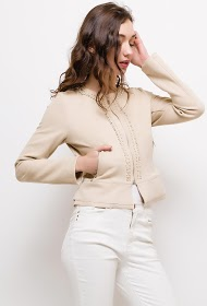 SOFTY suede jacket with pearls and strass