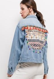 SOFTY jacke jeans mit ethnischem detail auf der rückseite