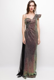 SOKY & SOKA evening dress with sequins and rhinestones