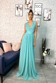 SOKY & SOKA long evening dress with pearls