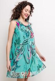 SOKY & SOKA fluid dress with tropical print
