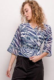 SOPHYLINE zebra wrap blouse