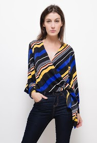 SOPHYLINE wraparound blouse with colorful stripes