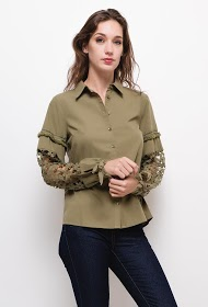 SOVOGUE shirt with lace sleeves