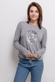 SOVOGUE maglione con teschio in paillettes