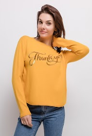 SOVOGUE pull thank you avec strass