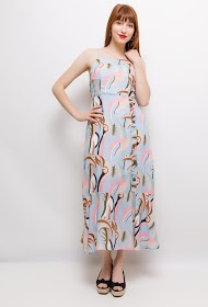 SOVOGUE printed long dress