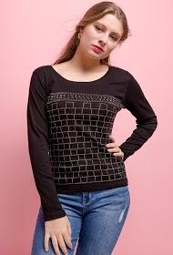 SOVOGUE t-shirt à carreaux en strass