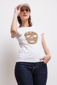 SOVOGUE t-shirt with skull in sequin