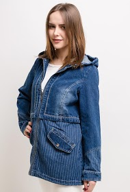 SPATIAL striped denim jacket with hood