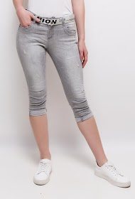 STARBEST denim capri pants with belt