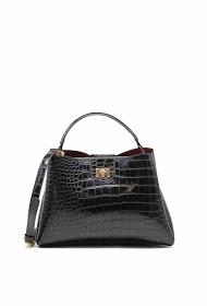 TOM & EVA crocodile effect handbag with turnstile clasp-6436a-black