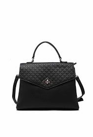 TOM & EVA quilted effect handbag with flap and twist closure
