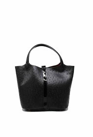 TOM & EVA ostrich handbag with removable interior pouch with turnstile clasp