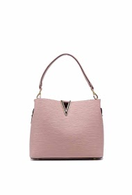 TOM & EVA reversible v pattern handbag with removable pouch
