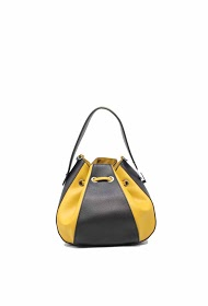 TOM & EVA two-color bucket bag with drawstring closure - 19g-2751