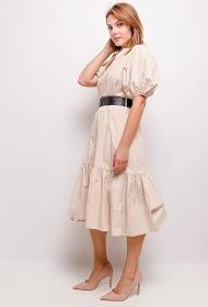 UNIGIRL vestido midi de manga folhada