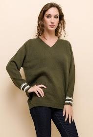 UNIKA sweater met contrasterende randen