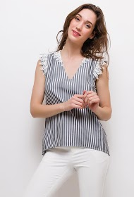 UNIKA striped top with lace