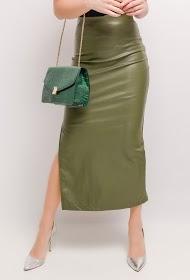 VAN DER ROCK long faux leather skirt