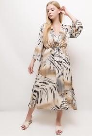 VETI STYLE midi-kleid mit zebradruck