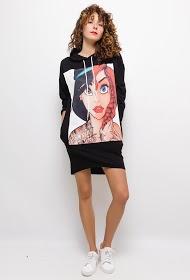 WILLY Z disney print hooded sweatshirt dress