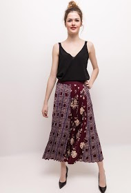 WISH BY ANJEE pleated midi skirt with check