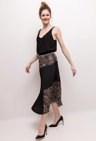 WISH BY ANJEE floral pleated skirt