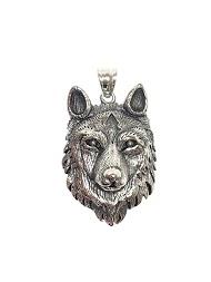 Z. EMILIE wolf head steel pendant