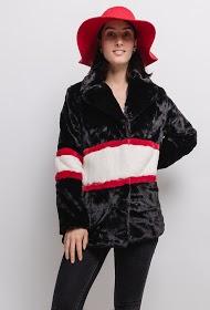 ZAC ET ZOÉ color block fur coat