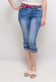 ZAC ET ZOÉ pantacourt en jean avec ceinture