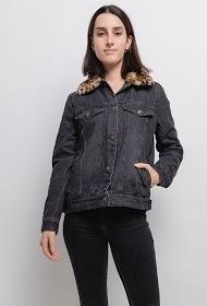 ZAC & ZOÉ veste en jean avec col fourrure léopard
