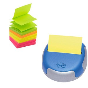 DISPENSER POST-IT Z-NOTES COSMO + 8 Z-NOTES NEON 7.6x7.6cm