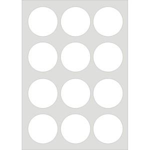 12 ETICHETTE ADESIVE CIRCOLARI IN FOGLI A4 Ø 60mm BIANCHE MARKIN
