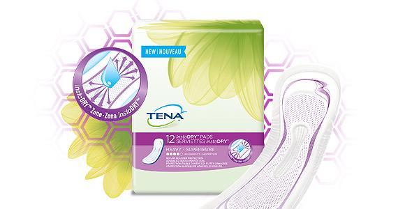 Échantillons gratuits de serviettes Tena InstaDry