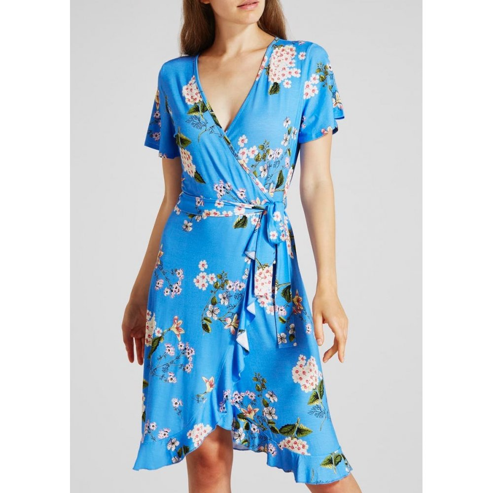 Floral Wrap Midi Dress - Blue