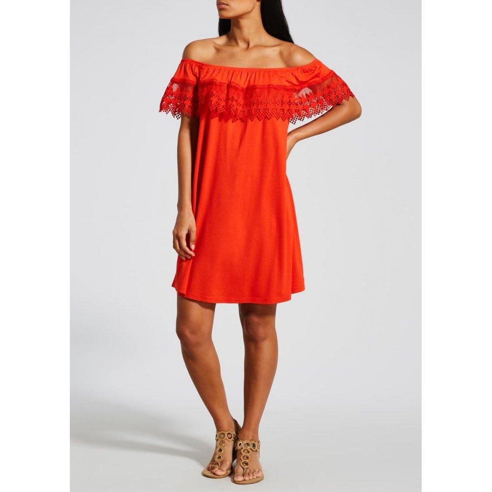 Lace Frill Bardot Dress - Red