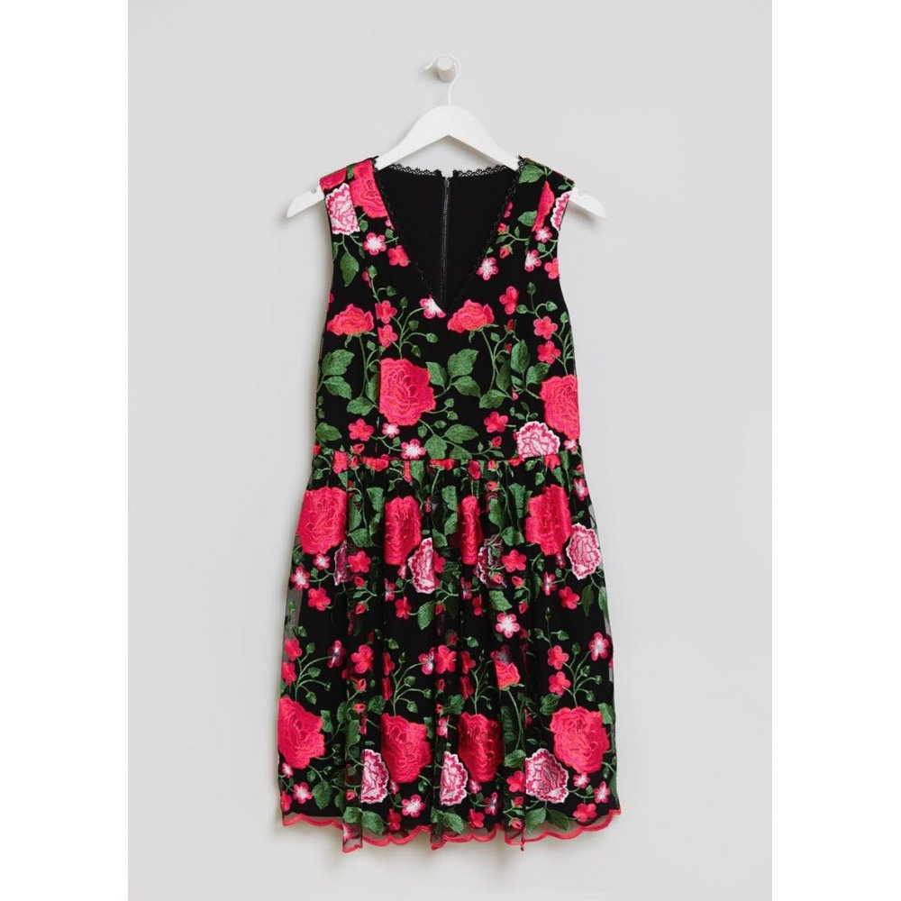 Fwm Floral Lace Skater Dress - Black