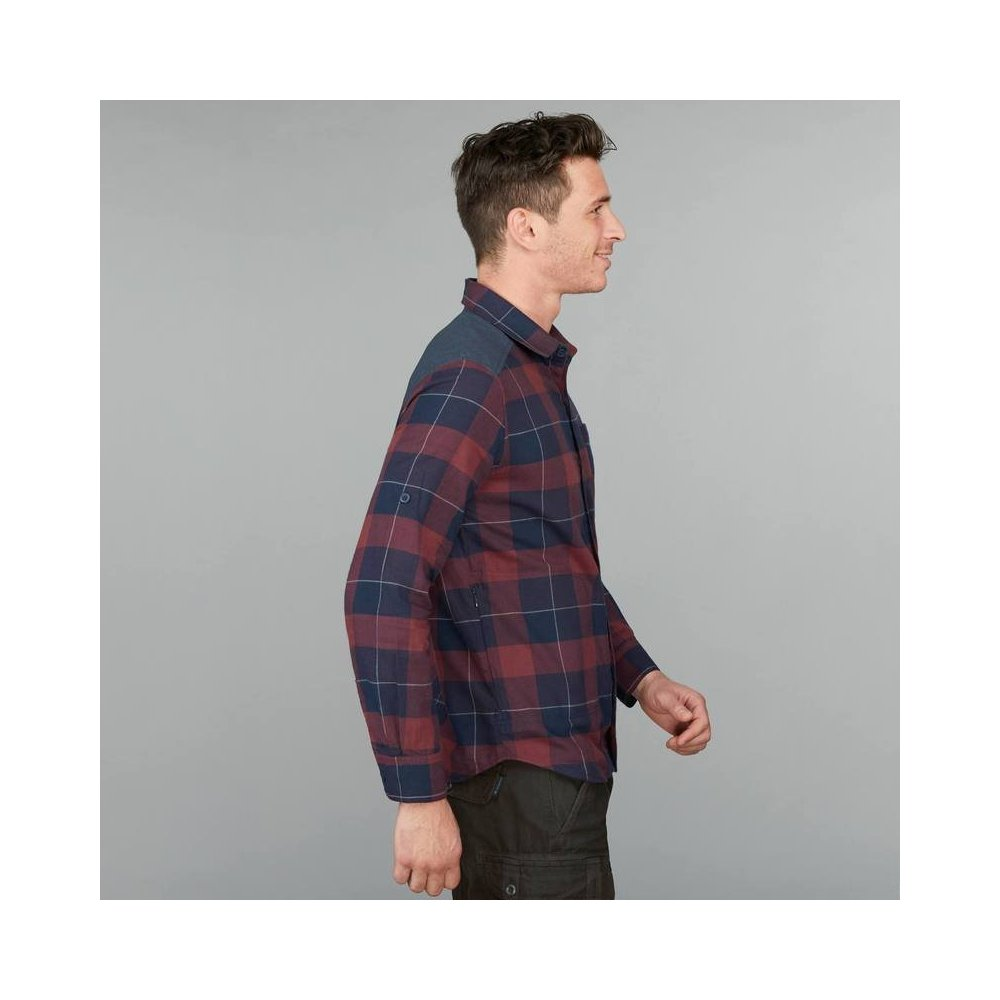 Men's Travel 100 Trekking Shirt - Burgundy