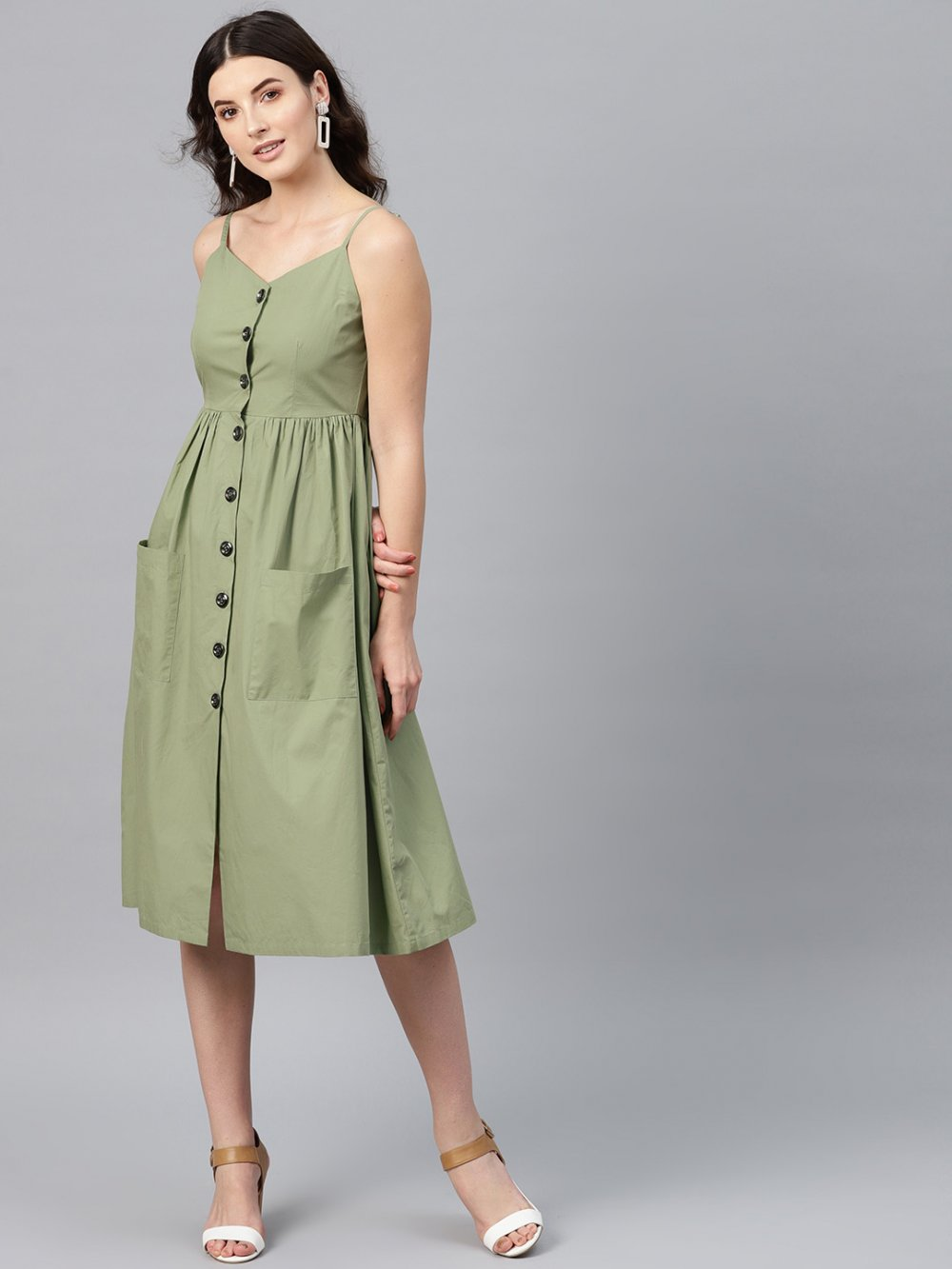 Women Olive Green Solid Empire Dress
