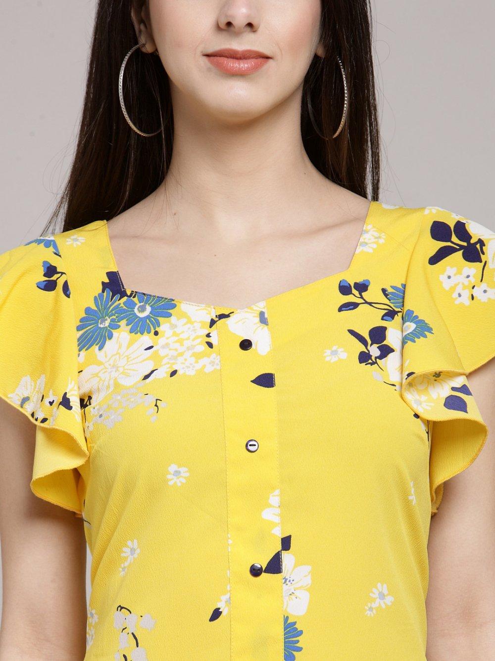 Women Yellow & Off-White Floral Print A-Line Dress